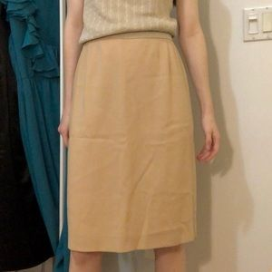 Classic Tan Wool Pencil Skirt by Armani
